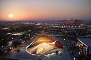 Schöner Abendhimmel über der Expo. Im Vordergrund der Nationenpavillon der Vereinigten Arabischen Emirate (Foster Architects), im Hintergrund die ExpoAchse und rechts der China-Pavillon