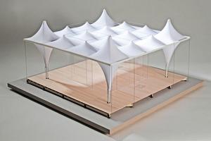 Modell des innovativen Dachtragwerkes<br />
