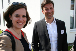 Isabelle von Keitz (Projektleiterin) und Ruben Lang von o5 architekten, verantwortlich für die Sanierung von Pfuhler Str. 14+16