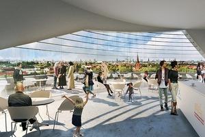 In 30m Höhe wird das Café eröffnet werden, das mit einem großen Wanddurchbruch die 360°-Terrasse auf dem Dach des Bunkers erschließt