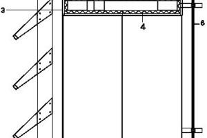 Fassadendetail Glas, o. M. 1 Perforierte Aluminiumoberfläche<br />2 Sekundäre Stahlkonstruktion<br />3 Metallverkleidung, Aluminiumplatten, eloxiert<br />4 Feuerbeständige Dämmung<br />5 Primär tragende Stahlstruktur<br />6 Vorhangfassade Isolierverglasung