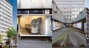 v. l.: Visualisierung Sanierung City-Hof (gmp), Ladengeschäft mit Müllcontainern, Passagenblick nach Süden, Südansicht Bestand (links Sprinkenhof)