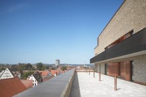 Von vornherein war eine Taubenabwehr in die Fassade einzuplanen. Auf der Terrasse wurden dafür alle 3,5m Pfosten installiert, die mit Ultraschall die Tauben am Niederlassen hindern