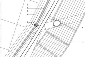 Legende Detail 5<br /><br /><br />1U-förmige Führungsschiene<br />2Doppelverglasung mit Luftkammer<br />3Horizontaler Außendeckel, Aluminium<br />4L-förmige Abschlussecke, zwischen Doppelboden und Fassade<br />5Stahlprofil, horizontal<br />6Fassadenstahlrohr<br />7Stahlschiene als Stütze der verstärkten Laufbühne<br />