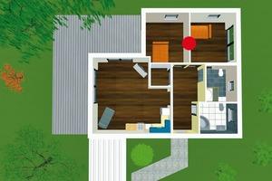 Mehrere Räume vergleichbarer Größe bieten die richtige Basis für die flexible Raumgestaltung in jeder Lebensphase. Wenn – wie hier – die Innenwand (rote Markierung) zwischen den Schlafräumen mit nur 17 Schrauben befestigt ist, sind der Wohnraumanpassung keine Grenzen mehr gesetzt (der Fußbodenbelag läuft durch)