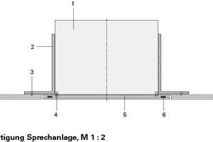 Befestigungsdetail Sprechanlage, M 1:2<br />