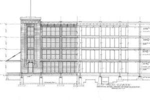 Highland Park, Fassade, Grundriss und Querschnitt, Bentley Hist. Library