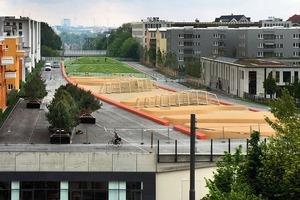 Kunstlandschaft auf Betondeckel: der Quartiersplatz Theresienhöhe in München<br />