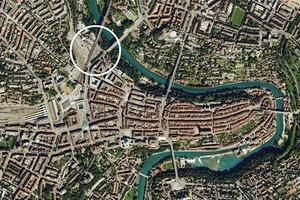 Luftbild des Wettbewerbsgebietes am Rande der Altstadt Bern/CH<br />