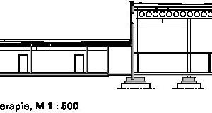 Schnitt AA, Sporthalle/Ökotherapie, M 1:500