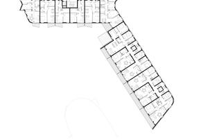 Grundriss Wohnbauriegel. Oben die geförderten Wohnungen zur Hammer Straße