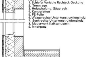 """<div class=""""13.6 Bildunterschrift"""">Fassadenschnitt, M 1:33<sup>1</sup>/3</div>"""