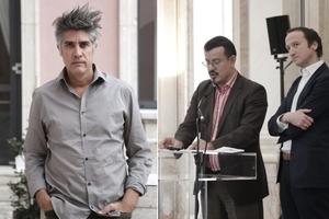 Alejandro Aravena, Peter Cachola Schmal und Oliver Elser in Berlin