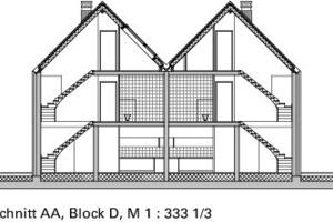 Schnitt AA, Block D, M 1:333<sup>1</sup>/3