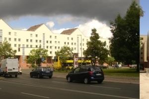 Ungers-Häuser am Lützowplatz in Berlin. Was hinten (rechts) in Teilen schon abgerissen war, wird vorne jetzt endgültig folgen.