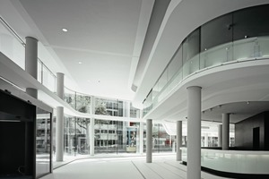 Das Raumprogramm erfordert eine geschossweise Gliederung bzw. Stapelung von unterschiedlichen Abteilungen bzw. Nutzungen. Im EG sind z.B. Eingangshalle, Cafeteria, Kantine, Schalter, Information zu finden. In den Obergeschossen befinden sich Bürobereiche und Konferenzzonen unterschiedlicher Behörden<br />