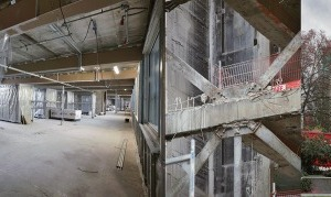v.l.: Blick auf den südlichen Treppenturm, Geschossebene mit Sanitäreinheiten, Auskreuzung im Treppenturm, Kramer-Wohnheim vor Philosophicum