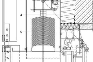 Detail Fensterkopfanbindung, o. M<br />1 GfK-Element mit Wärmeschutzverglasung Ug=1,1 W/m²K; g=58%, Float 6mm, SZR 16mm; 2 Mineralwolle 120mm; 3 Blendenkasten; 4 Druckfeste Dämmung; 5 Flachlamellen b=80mm 6 Dreh-Kipp-Fenster, System Wicona Wicline 65, Wärmeschutzverglasung Ug=1,1 W/m²K; g=58%, Float 6mm<br />