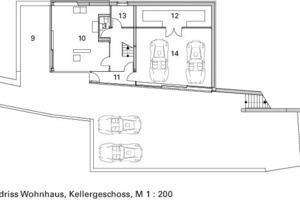Grundriss Wohnhaus, Kellergeschoss, M 1:200<br />