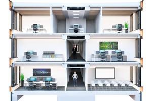 Unterschiedliche hybride Systeme aus vorgefertigten Wand- und Deckenelementen können zu einem Gesamttragwerk kombiniert werden