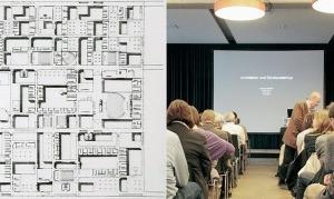 Strukturalismus vergangener Zeiten: links Grundriss FU Berlin (1963), Candilis-Josic-Woods, rechts: Grundriss Central Beheers Office, Apeldoorn. Dazwischen: Bühne für den Vortrag