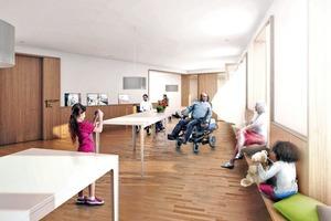 """Wohnen am Thie – Visualisierung des Wohn-Gemeinschaftsraumes mit Tischen """"ohne Stühle"""" und Rammschutz in Form von Holzbrüstungen und Sitzbänken vor den Fenstern"""