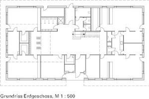"""<div class=""""5.6 Bildunterschrift"""">Grundriss Erdgeschoss, M 1:500</div>"""