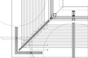 Die geschosshohen Glastafeln der Nycomed-Fassade folgen individuell gesteuert dem Sonnenstand und reagieren auf Regen- und Windverhältnisse. (1) Abschottung Weißglas, ohne Streckgitter, (2) Anschlag, (3) Arretierung, (4) Drehbar zur Reinigung mit Anschlag<br />