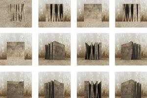 """Die beiden Preisträger Moritz Nicklaus und Simon Scheithauer von der Bauhaus-Universität Weimar. Der Bildausschnitt aus der Arbeit """"The Monolithic""""zeigt die konstruktiven und raumbildenden Strukturen einer kompakten Form<br />"""
