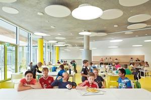 Das Konzept der offenen Ganztagsschule hatte Einfluss auf die Anordnung der einzelnen Bereiche zueinander. Laute Bereiche, wie die Mensa im Erdgeschoss neben der Sporthalle, sind zur Lärmschutzmauer hin orientiert