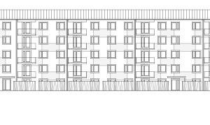 Ansicht West, M 1:750: Das optimierte A/V-Verhältnis, der kompakte Bau-körper und die Vorfertigung von Bauelementen senken die Baukosten