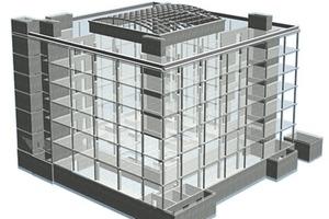 Bild 14 b: Konstruktionsmodell Statik des Multifunktionsgebäudes ThyssenKrupp Aufzugswerke