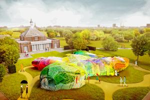 Der bonbonfarbene Kokon, der ab Juni im London zu sehen sein wird