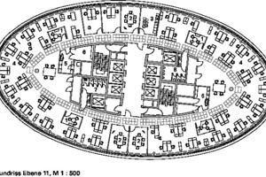 Grundriss Hochhaus Ebene 11, M 1:500