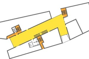 """Ärztehaus Erdgeschoss: Ausgehend von der Entwurfs<br />idee eines zentralen Foyers und dem zentralen Schutzziel """"Selbstrettung"""" wurden zwei bauliche Rettungswege vorgesehen<br />"""