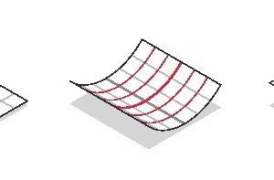 v.l.n.r.: ebene Fläche; einfache Krümmung/Zylinderfläche; doppelte Krümmung/Sattelfläche