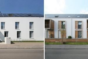 Ansichten der im Effizienzhaus Plus Standard sanierten und modernisierten Altbauten aus den 1930er-Jahren: links Sobek, rechts o5 architekten (Team Manfred Hegger)