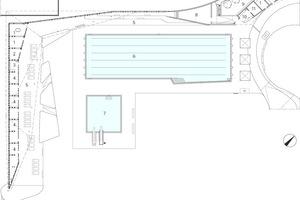 Grundriss Erdgeschoss Loungegebäude, M 1:750<p>1DLRG<br />2DLRG Trockenraum<br />3Werkstatt<br />4Lager<br />5Terrasse<br />6Schwimmbecken<br />7Sprungbecken<br />8Heizung/ Warmwasser<br />9Technik<br />10Schwimmmeister<br />11Elektroverteiler<br />12Erste Hilfe<br />13Personalräume</p>