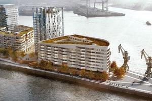 Strandkai, v. r.: léonwohlhage, ingenhoven, LRW Architekten mit be Hamburg (Elbseite), Hadi Teherani