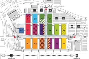 Hallenplan der Neuen Messe München, BAU 2009
