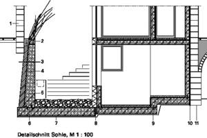 Detailschnitt Sohle, M 1:100