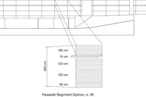 &nbsp;<br />Der zweite Stock des Future Evolution House ist mit 120&nbsp;cm breiten siebbedruckten Eternitplatten verkleidet. Das Modul von 15&nbsp;cm wiederholt sich 28-mal auf 420&nbsp;cm Breite während es sich 8-mal auf individuellen 120&nbsp;cm Plattenbreite wiederholt. Die oberste Platte der Fassade wird von 120 um eine 15&nbsp;cm breite Einheit verkürzt, die von den anderen Platten um 0,6&nbsp;m abgesetzt ist, so dass die oberste Plattenreihe genau ein Viertel der Gesamthöhe der zweiten Etage einnimmt und gleichzeitig das 15&nbsp;cm-Modul betont wird. Die unteren Plattenreihen behalten 120&nbsp;cm Breite, um die Gesamtzahl der Platten zu minimieren. Die unterste Reihe hat eine Breite von 60&nbsp;cm, abzüglich der jeweiligen Maße für den Mindestabstand der Platten.<br />&nbsp;<br />Fassadenmuster A: Segmentoption .15<br />