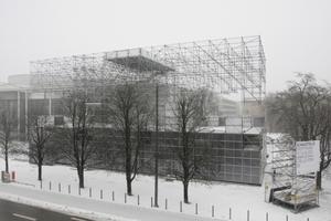 Schaustelle an der Gabelsbergerstraße, vor der Pinakothek der Moderne