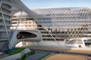 """Hani Rashid sagt über den Bau:""""Eine perfekte Union und ein Zusammenspiel von Eleganz und Spektakel. Deren Suche inspiriert war, was man die Kunst und Poetik des Motorsports, speziell der Formel 1, gekoppelt mit der Schaffung eines Ortes, der Abu Dhabi als kulturelle und technologische  Tour de Force nennen kann.""""<br />"""