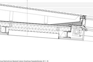 Detail Anschluss Stahlrahmen Bestand/oberer Anschluss Fassadenfenster, M 1:10<br />
