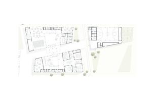 2.Platz: Der Entwurf positioniert sich mit drei versetzt zueinanderstehenden Bauköpern zur benachbarten Wohnbebauung