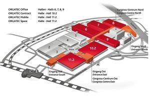 """<div class=""""10.6 Bildunterschrift"""">Der Hallenplan der ORGATEC 2014</div>"""
