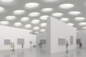 Die 195 kreisrunden Oberlichter enthalten eine Streufolie, um die Halle gleichmäßig auszuleuchten, und eine Sonnenschutzlösung, die eine vollständige Verdunkelung ermöglicht<br /><br />