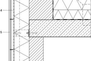 Legende Attika-/ Fassadenaufbau<br />&nbsp;<br />&nbsp;<br />1Attika Zink<br />2Dämmung<br />3Z-Profil, vertikal<br />4Unterspannbahn<br />5Streckgitter<br />