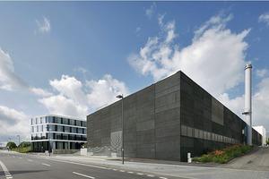 """<div class=""""2.6 Bildunterschrift"""">Die Fassade besteht aus einer geschossweise leicht verspringenden Abfolge der schwarzen Parallelausstellfenster und der Festverglasung </div>"""